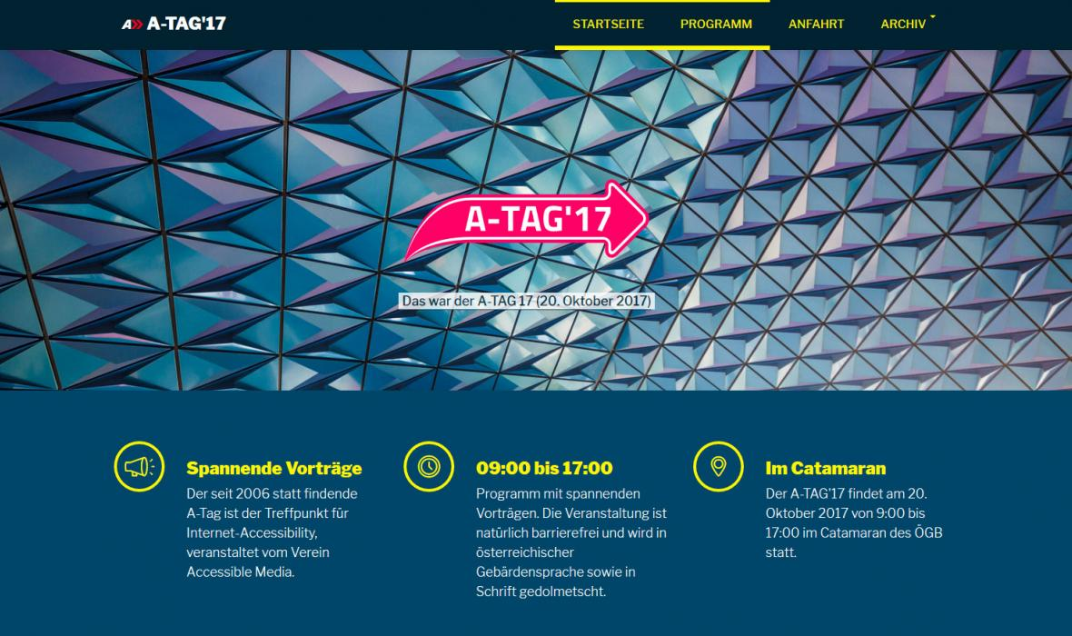 Screenshot der Atag Website